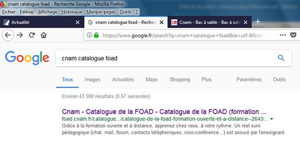 Affichage dans la page résultats de Google
